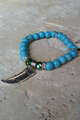 MOANA would Love this Bracelet! Boho-Chic Faux Turquoise Bracelet with Silver Shark's Tooth. (G-39)