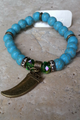 MOANA would Love this Bracelet! Boho-Chic Faux Turquoise Bracelet with Bronze Shark's Tooth. (G-38)
