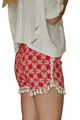 100% Rayon Challis Shorts with Pom Poms! Red Paisley. From MAZE! (D-200)