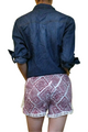 100% Rayon Challis Shorts with Lace Trim! Red/White Tribal Pattern. From MAZE! (E-3)