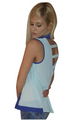 Sleeveless Buttondown Top with Cutout Back! Aqua Royal Blue. (C-31)