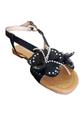 Black Flower Sandals! (L-16)