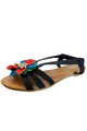Black & Multi Flower Sandals! (L-6)