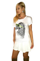 Boutique Tee: Zebra in SHADES! 90% Ultra Smooth Cotton. White with Neon Green Striped Back. (B-158)