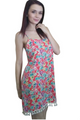Floral Dress with Boho Chic Tassels! Coral Pink. (D-29)
