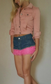 Cotton Denim Jean Skirt with Pink Lace Trim! (E-25)