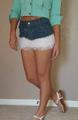 Cotton Denim Jean Skirt with White Lace Trim! (E-26)