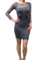 Grey Bodycon Dress with Lace Shoulders & Sleeves. (C-133)