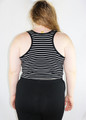 PLUS SIZE  Sleeveless Crop Top Lace Trim! Black & White Stripes. (B-82)