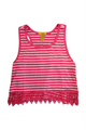 PLUS SIZE  Sleeveless  CropTop Lace Trim! Red & White Stripes (B-83)
