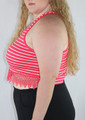 PLUS SIZE  Sleeveless  CropTop Lace Trim! Red & White Stripes (B-83)