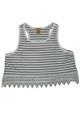 PLUS SIZE  Sleeveless  Crop Top Lace Trim! White & Navy Stripes. (B-81)