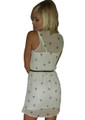 Belted Sleeveless Dress is Ivory White with Black Leopard Heads. (C-173)