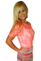Neon Orange Crochet Top with Kehole Cutout Back. (B-194)