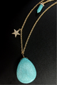 3-Layer Gold Necklace Set with Separate Choker, Turquoise and Star.  (G-73)
