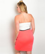Plus Size Strapless Dress! Ivory White and Coral. (C-136)