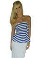 Strapless Cotton Blue and White Striped Peplum Top! (B-76)