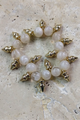 Stretch Bracelet from GIRLY! Gold Spikes and Peach Glass Pearls. (G-4)