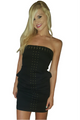 Cotton Strapless Black Dress with Zipper Back & Studs! (D-25)