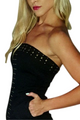 Cotton Strapless Black Dress with Zipper Back & Studs! (D-25)