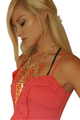 Aztec Statement Necklace & Earrings Set! Red & Orange