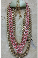 Necklace SET!  Gold Chain with Red comes with Earrings!  (G-94)