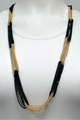 Heavy Chain Colorblock Statement Necklace in Black & Gold.  (G-57)