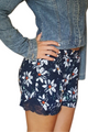 Navy Floral Shorts with Lace Accents! (E-19)