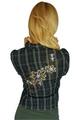 Boutique Denim Blazer with Embroidery! 97% Cotton. Denim Black & Tan Plaid. (D-101)