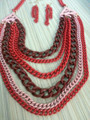 Necklace and Earrings Set. Multiple Layers of Heavy Chain in Red and Pink.