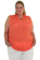Plus Size Peach Top. Sleeveless, 100% Rayon. (B-25)