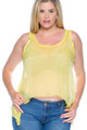 PLUS SIZE Sheer Tank Top. Yellow. (A-42)