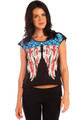 95% Cotton Boutique Black Tee with American Flag Wings and Boho Tassels! (B-98)