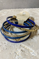 Gold & Blue Classy Multi Bangle Inspired by Famous Designer! (G-22)