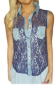 65% Cotton Sleeveless Lace Top with Denim!  (A-68)
