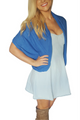 Over-the-Shoulder, Open Cardigan from Ambiance Apparel! Blue.  (B-184)