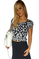 100% Rayon Short Sleeve Top Is Black And White Floral Print!  (C-64)