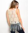 Fringe Tassel Boho Sleeveless Top! White Floral Crochet! (A-31)
