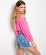 Long Sleeve Rayon Boho Top with Crochet Band! Pink and White. (B-199)