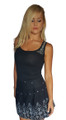 98% Cotton, Sequin Shoulder Tank Top. Black.  (E-142)