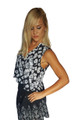 100% Rayon Sleeveless Top Is Black And White Floral Print!  (A-106)