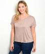 PLUS SIZE Mocha Rayon Short Sleeve Top with Chest Pocket.  (A-141)