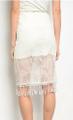 White Crochet Lace Pencil Skirt with Fringe Tassels!  (E-55)