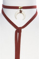 Burgundy 'Suede' Crescent Moon Choker Necklace.  (G-86)