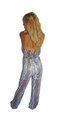 Sleeveless Sheer Purple/Mustard Floral Halter Bodice Jumpsuit(C-119)