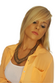 Long Sleeve Buttondown Collared Blouse In Melon Orange.  (A-149)