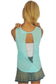 Paisley Muscle Tee with Keyhole Cutout Back! Teal. (C-54)