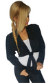 Black Bolero Cardigan with Silver Metallic Stripes! (A-113)