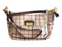 High Quality, Long Strap Large Purse. Beige and Brown Plaid.