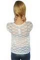 Short Sleeve White Top with Lace Back & Lace Pocket! (A-18)